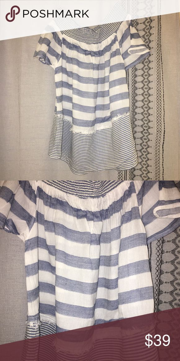 Miss Selfridge Off-Shoulder Shirt Cute off-the-shoulder top perfect for warm, sunny days! Blue and white striped with subtle coastal details. Like-new condition! Miss Selfridge Tops Tees - Short Sleeve