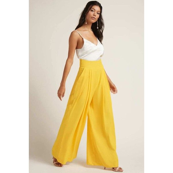 Forever21 High-Waist Palazzo Trousers ($58) ❤ liked on Polyvore featuring pants, yellow, high waisted palazzo pants, high-waisted trousers, forever 21 pants, forever 21 and yellow pants