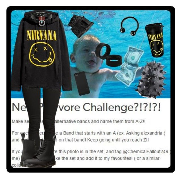 """N is for Nirvana"" by chemicalfallout249 ❤ liked on Polyvore featuring H&M, Dr. Martens, Incase, black, Punk, rock, grunge and alternative"