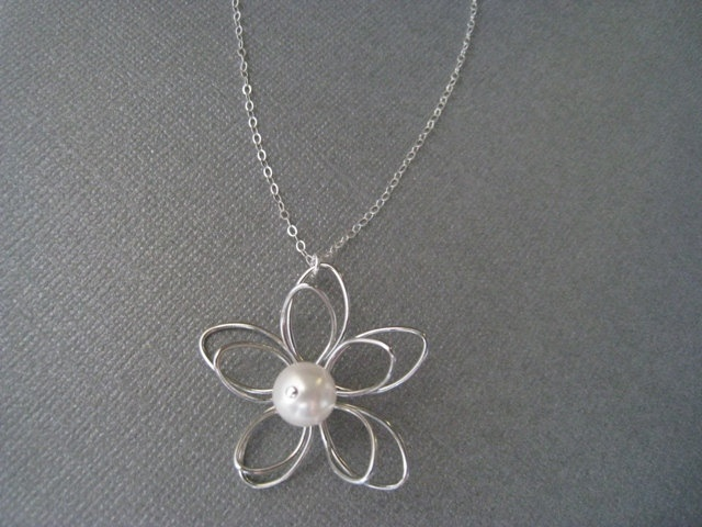 Flower and Swarovski Pearl Necklace in STERLING SLIVER CHAIN--Perfect Gift,Christmas Gift for mom, Birthday Present for her,for friends. $21.00, via Etsy.