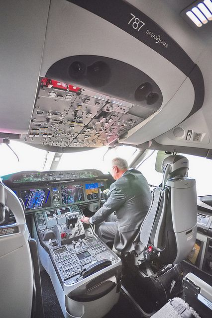 """A pilot explaining the control buttons of the cockpit in the new Boeing 787 Dreamliner at Singapore Airshow 2012   by ♥myu, via Flickr  """"OK, now where's the start button?"""""""