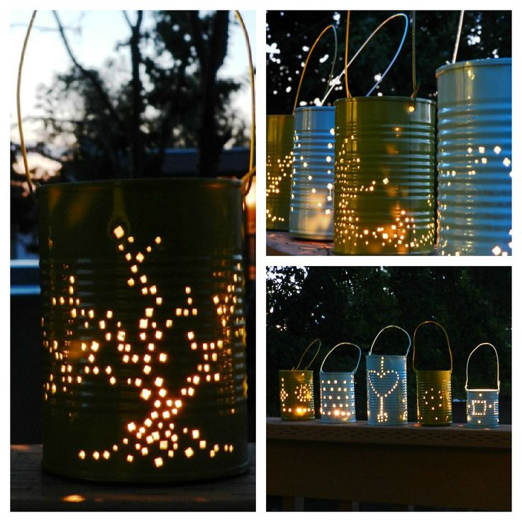 "TIN CAN LANTERNS ~           Remove labels (use WD40).  Freeze with only 1"" of water FIRST!  Add move H20 and freeze to top.  Punch  holes for handles.  Hammer in your design.  Spray paint with Krylon indoor/outdoor.  Insert tea light candles.   Light.  You're ready to go!"