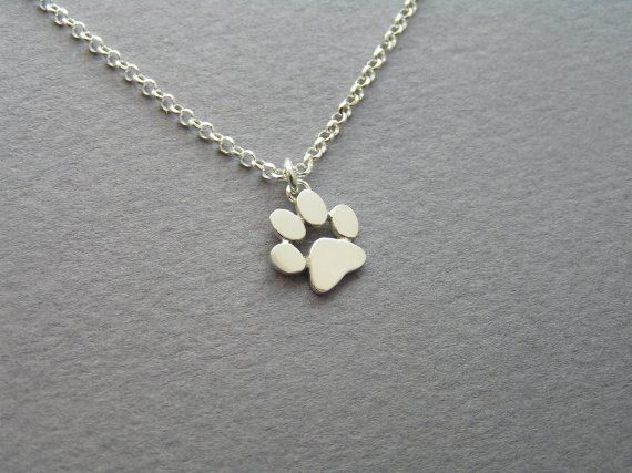 Paw Print Necklace Pendant Sterling Silver by DaliaShamirJewelry