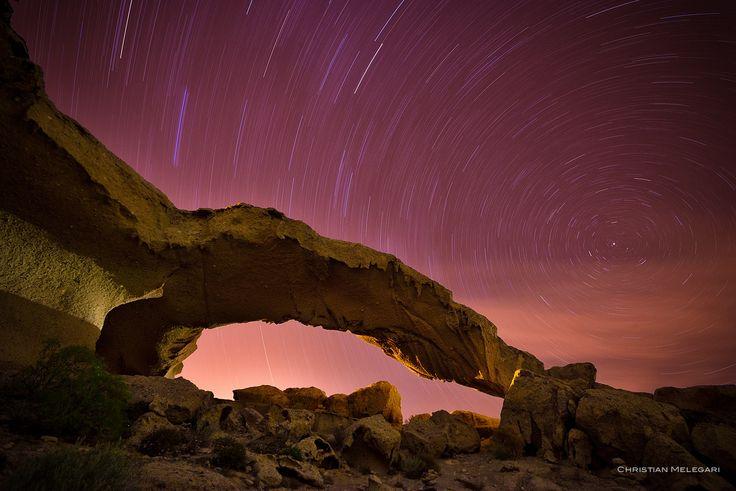 stone arc sky - stone arc at night with startrail