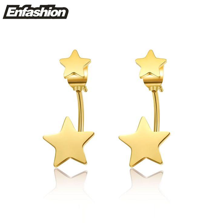 Enfashion Jewelry Double Star Earrings Black Stud Earring 18K Rose Gold Earings Stainless Steel Earrings For Women Wholesale www.bernysjewels.com #bernysjewels #jewels #jewelry #nice #bags