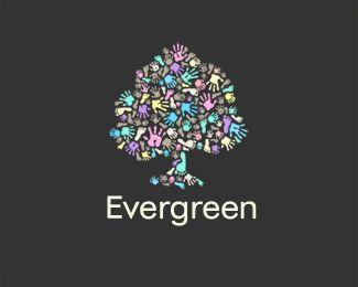 evergreen day nursery logo design