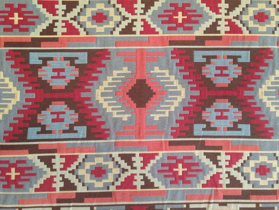 Southwestern Fabric  For a southwestern feel to your home, use this fabric! Featuring colors of Chili Pepper Red, Coral, and sky blue. This fabric