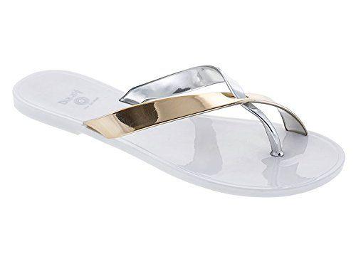 Offers Women Dizzy G-Criss Cross Jelly Sandal Black/Silver - C7Y54H607