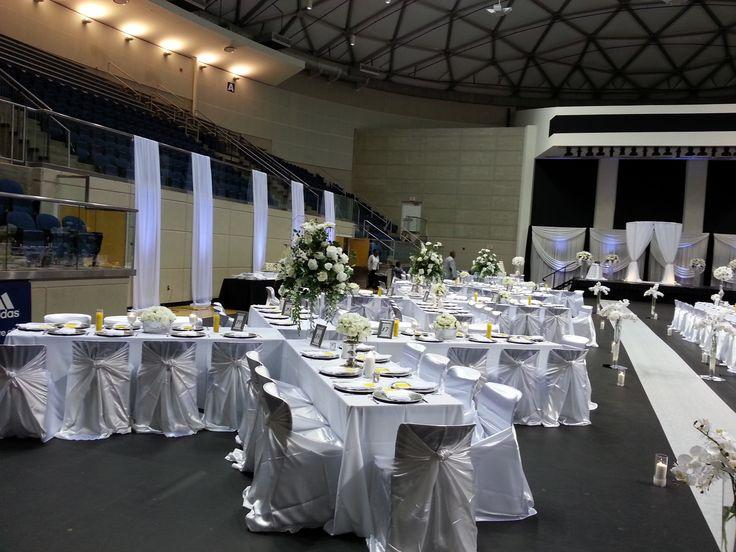 Gym wedding reception. X-design table setup #xdesign #reception #gymwedding #yellowreception #whitereception