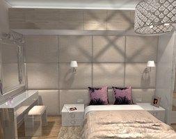 Sypialnia w stylu Glamour z panelami tapicerowanymi na ścianie - zdjęcie od angelika-werblinska