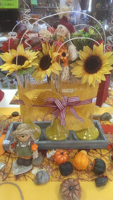 Herbstdeko mit Sonnenblumen Tischdeko Herbst Pinterest