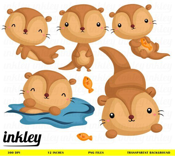 Cute Otter Clipart Cute Animal Clip Art Animal Swimming Etsy Clip Art Animal Clipart Cute Animal Clipart