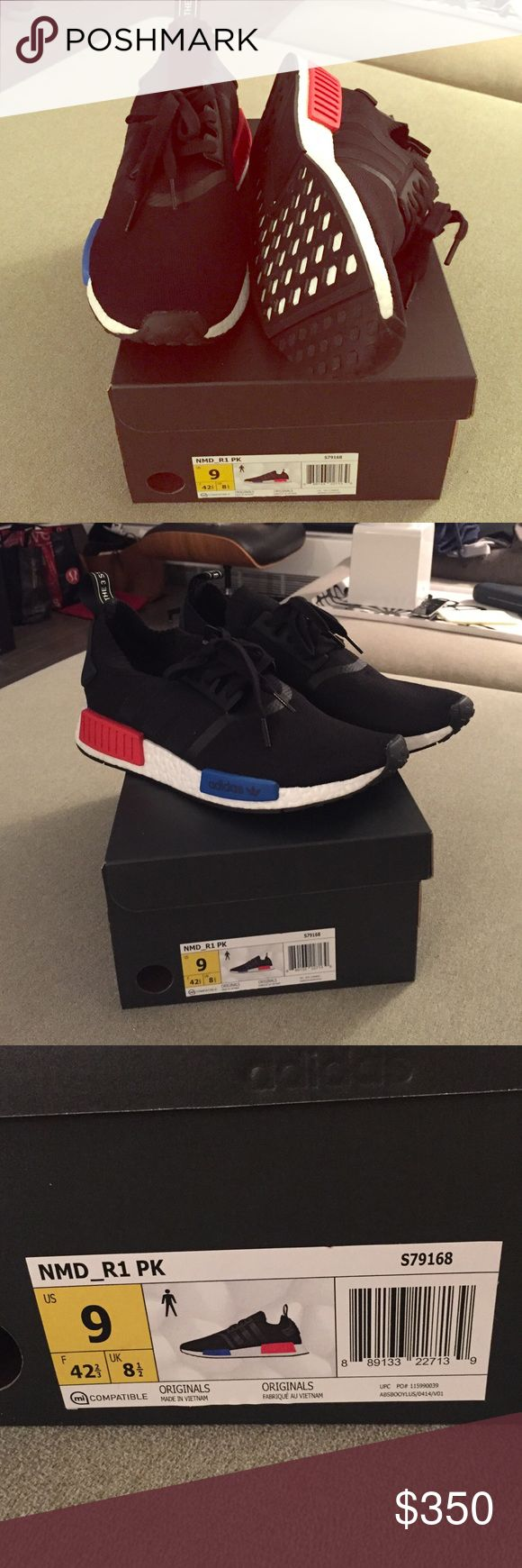 NMD_R1 flight club all black with red and blue Brand new in box nmds Adidas Shoes Athletic Shoes