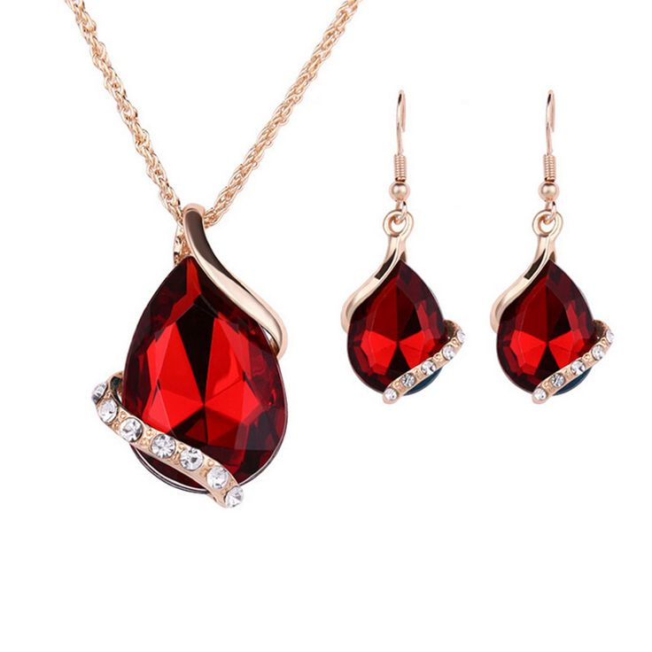 Women Wedding Party Crystal Turquoise Red Water Drop Pendant Necklace Earrings Sets  Gold Plated Jewelry Sets