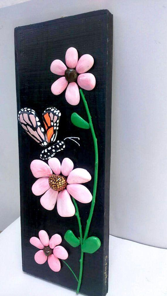 Butterfly and Flowers Handpainted Stones Pebble от StefArtStone