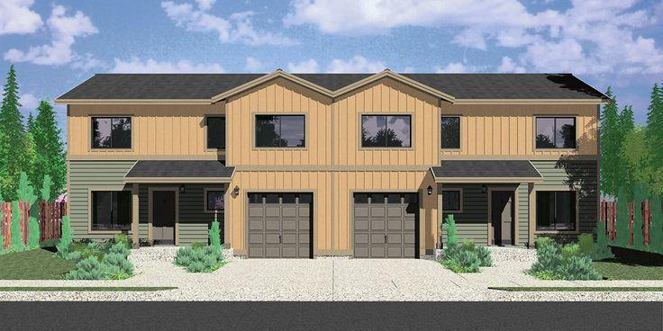 House front color elevation view for D-597 Duplex house plans, duplex plans with garages together, 3 bedroom duplex plans, D-597