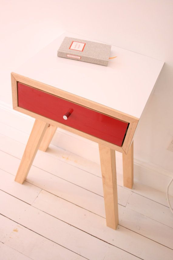 DOLLY BEDSIDE with drawer  midcentury modern side by Milkcart, $250.00