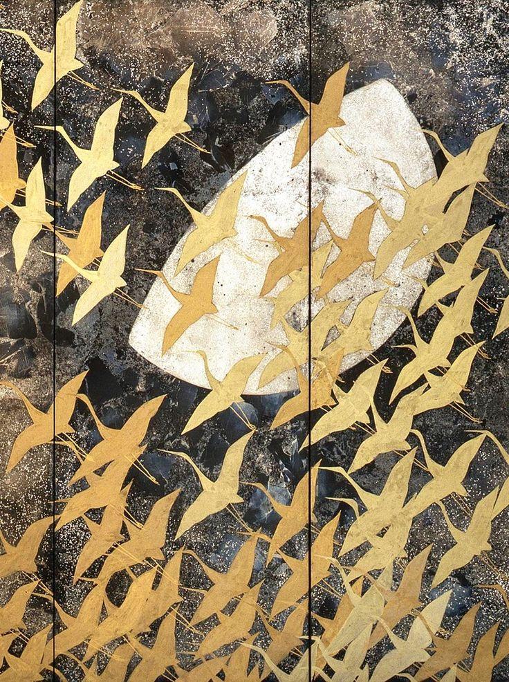 Detail. A Thousand Cranes. Kayama Matazō (1927–2004. 1970. One of a pair of six-panel Japanese folding screens National Museum of Modern Art, Tokyo.