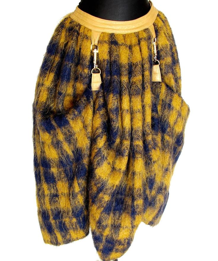 Bonnie Cashin for Sills Butterscotch Plaid Mohair Wool Dog Leash Skirt 1960s  3