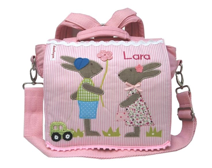 Kindergartenrucksack mit Namen-Kleine Hasenfreunde von wohnzwerg auf DaWanda.com http://de.dawanda.com/product/41976094-Kindergartenrucksack-mit-Namen-Kleine-Hasenfreunde