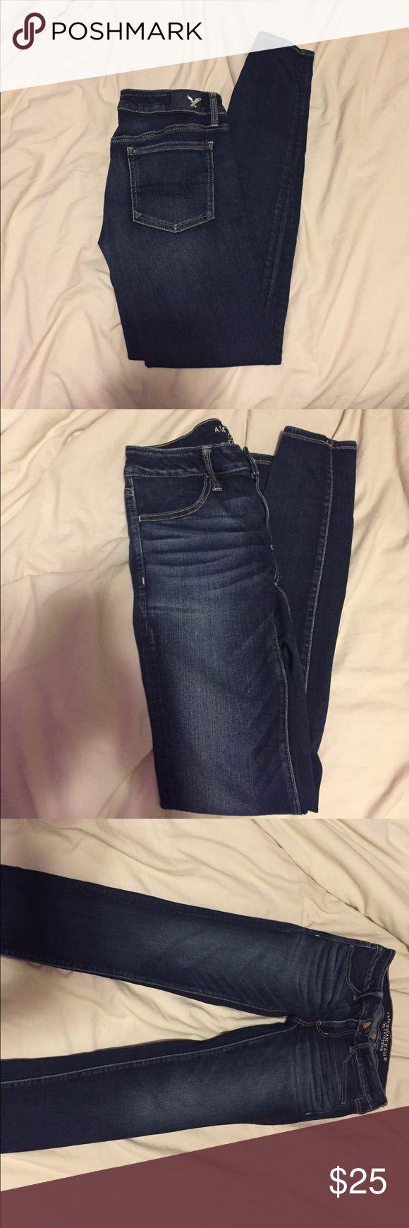 American Eagle // dark wash super low jegging Brand new jeans , they have never been worn just w/o tags, low rise , jegging, super stretchy and comfy, they are a dark blue wash, 6Long for those girls with long legs, mid rise , the perfect dark wash denim American Eagle Outfitters Jeans Skinny