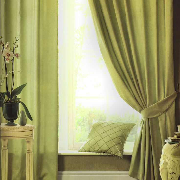 Silk Sheen Green Pencil Pleat Curtains