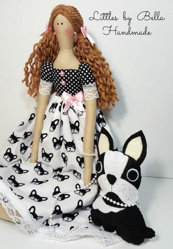 Textiles muñeca Bulldog Francés muñeca tilda por littlesbyBella