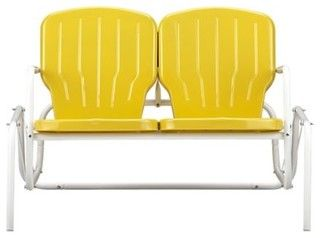 Motel Double Glider, Yellow - contemporary - outdoor stools and benches - by Crate&Barrel