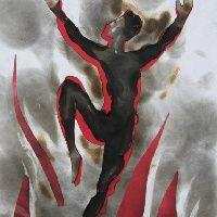 Taniec płomieni, mixed media
