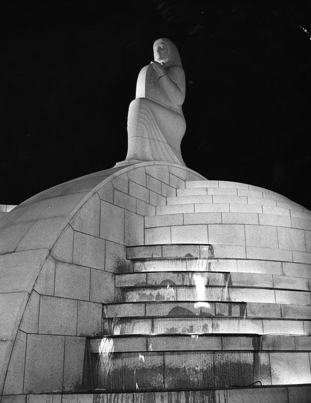 """The """"Muse of Music"""" sculpture at the entrance to the Hollywood Bowl - Los Angeles - July 10th, 1940."""
