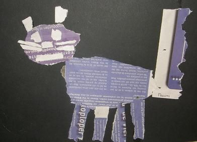 Welke dieren kan je maken met uitgescheurde stukken krantenpapier?