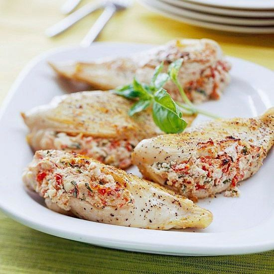 Baked chicken fillet with cottage cheese (weight loss)