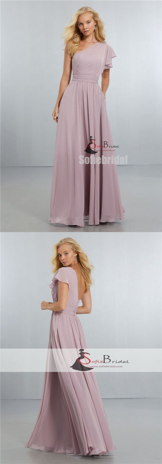 One Shoulder A-line Chiffon Prom Dresses, Popular Wedding Guest Dresses, PD0403 #bridesmaiddresses