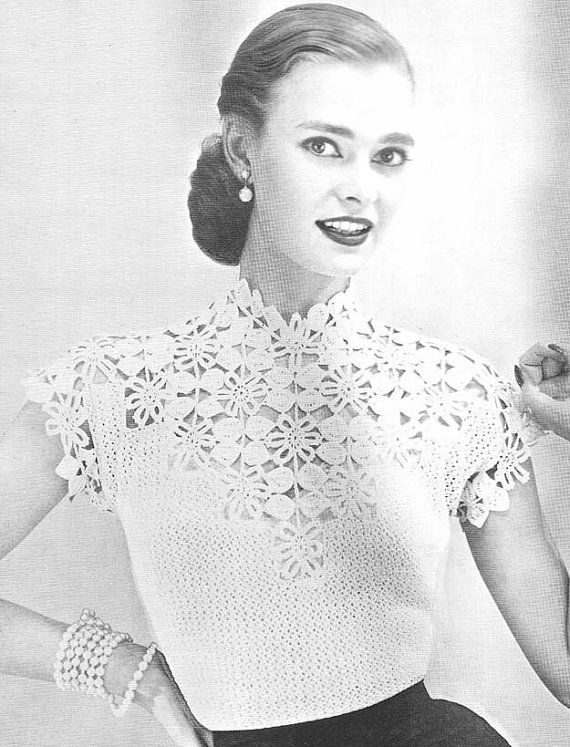 Free Vintage Crochet Yoke Patterns : 1955 Flower and Leaf Yoke Blouse Vintage Crochet Pattern ...