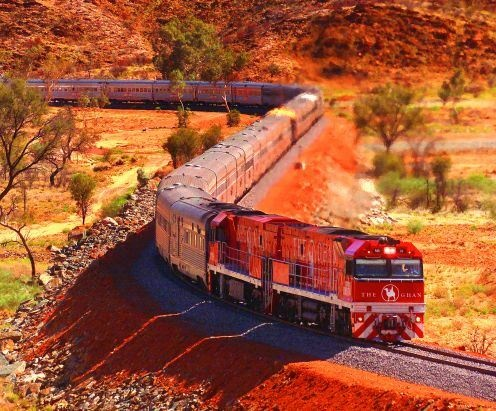 The Ghan – Australia. Awesome experience, we took the train from Perth to Adelaide, took 2 days. Beautiful scenery, relaxing journey... Even in the cheap seats where you had to sleep partially reclined in your seat! The train stops along the way, so you can see the real outback. One of my favourite Aussie memories.