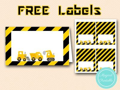 free construction party food labels-table-labels-tent-labels tlc20                                                                                                                                                     More