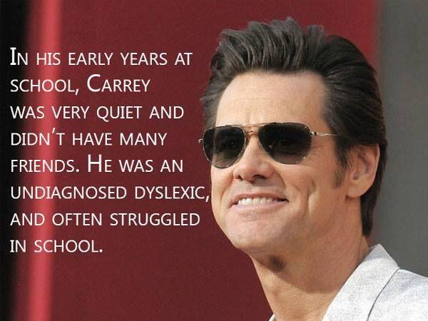 Jim Carrey is dyslexic.  http://dyslexiahelp.umich.edu/success-stories/jim-carrey