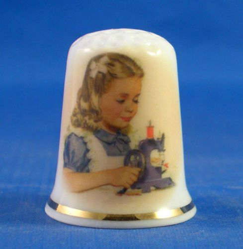 FINE-PORCELAIN-CHINA-THIMBLE-GIRL-WITH-TOY-SEWING-MACHINE-FREE-GIFT-BOX