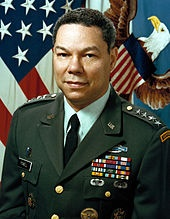Colin Luther Powell is a United States statesman and a retired four-star general in the United States Army.He was the 65th United States Secretary of State (20012005), serving under President George W. Bush. He was the first African American appointed to that position. He was the first, and so far the only, African American to serve on the Joint Chiefs of Staff.