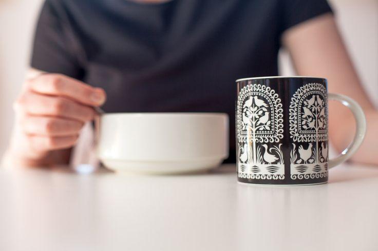 kubek, ceramika kurpiowska, kurpie, na ludowo, ludowe, folk, folklor, design