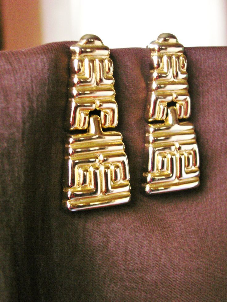 Gold Tone Pierced Dangle Earrings, Bolly Wood, Chunky, Bold, Tribal, Geometric, Hinged, Articulated Earrings by dazzledbyvintage on Etsy