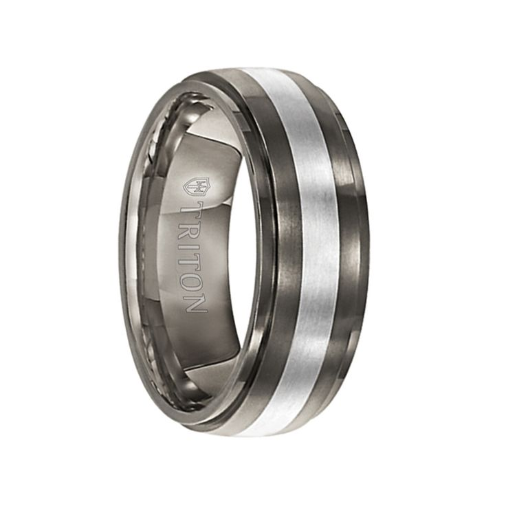 Triton Rings - TYLER Slightly Domed Satin Center Titanium Ring with Polished Step Edges and Silver Inlay - 7.5 mm