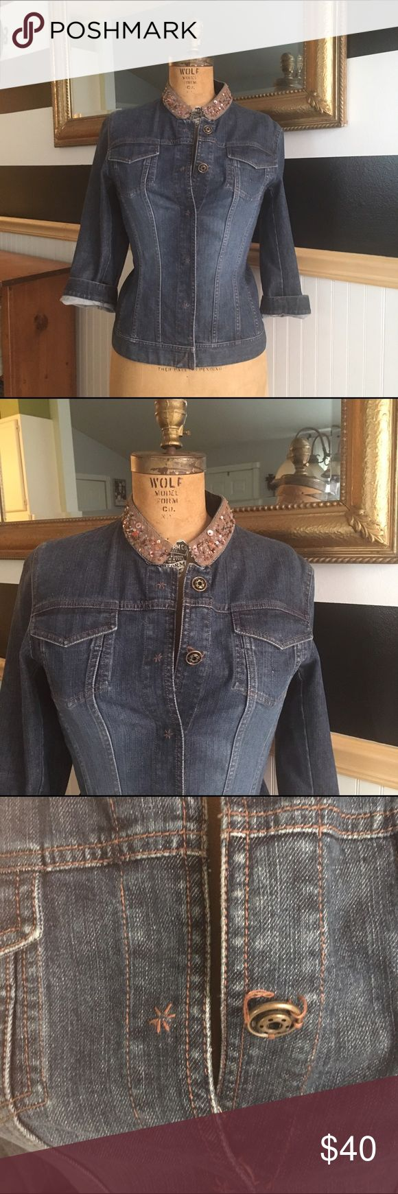 Banana Republic jean jacket, beaded/ sequin collar Jean jacket with high collar featuring beading and sequin detail. One button needs a stitch or two for repair Banana Republic Jackets & Coats Jean Jackets