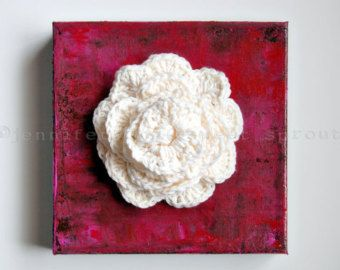 Tea Can CROCHET PAINTING on CANVAS by sweetdashsprout on Etsy