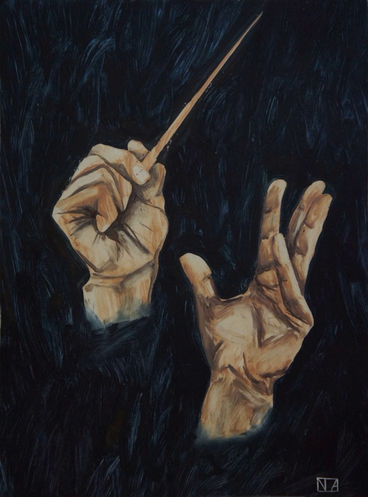 Music. Oil on paper.