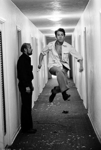 Director Bob Fosse and Dustin Hoffman on the set of Lenny, 1974. Photo by Steve Schapiro