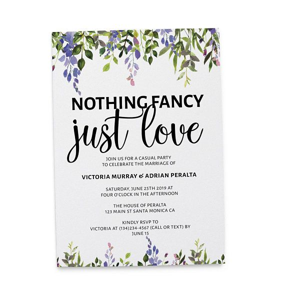 Nothing Fancy Just Love Wedding Reception Invitation Cards With Floral And Leave Wedding Announcement Cards Reception Invitations Wedding Reception Invitations