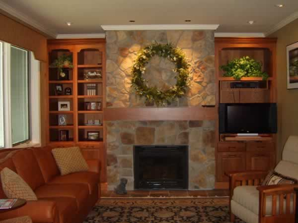 Family room design and Fireplace ideas