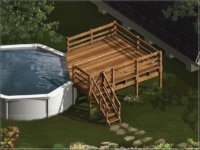 8 best pool decks images on pinterest ground pools for Pool deck designs above ground