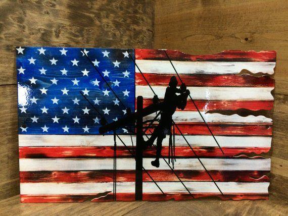 Lineman American Flag Tattered Wood Look Etsy American Flag Wood American Flag Lineman Gifts